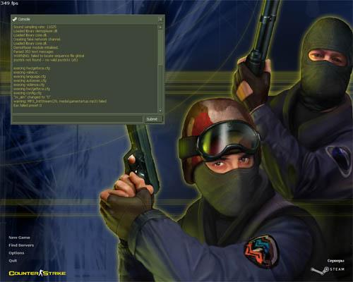 Вид Counter-Strike после запуска в режиме developer