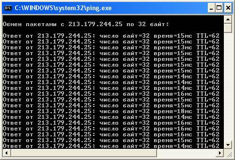 Проверка пинга с помощью системной команды Windows - ping